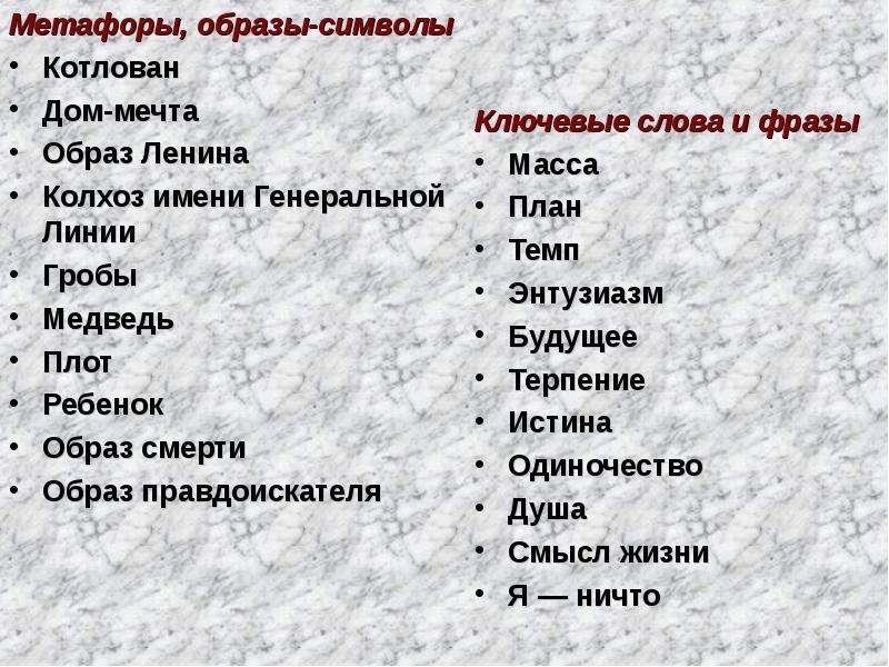 Метафоры, образы-символы Метафоры, образы-символы Котлован Дом-мечта Образ Ленина Колхоз имени Генер