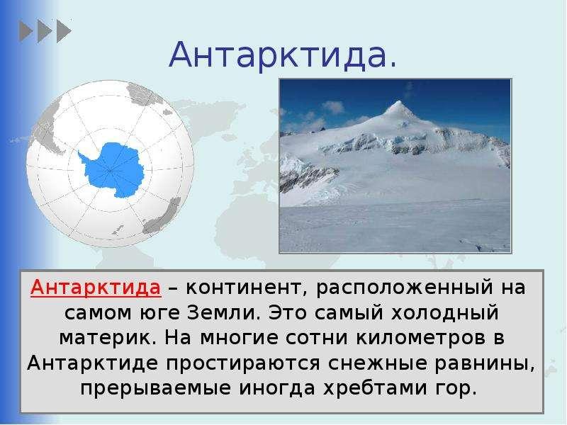 Антарктида. Антарктида – континент, расположенный на самом юге Земли. Это самый холодный материк. На