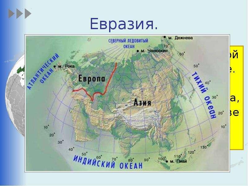 Евразия. Это самый большой материк на Земле. Евразия так велика, что её делят на две части света – Е