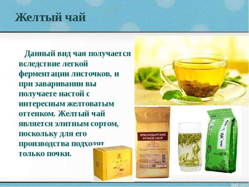 Желтый чай Данный вид чая получается вследствие легкой ферментации листочков, и при заваривании вы п
