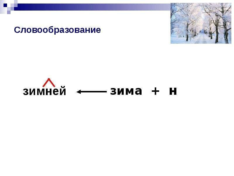 Словообразование зимней