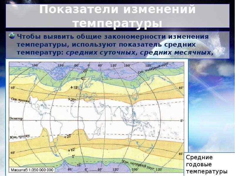Показатели изменений температуры Чтобы выявить общие закономерности изменения температуры, использую