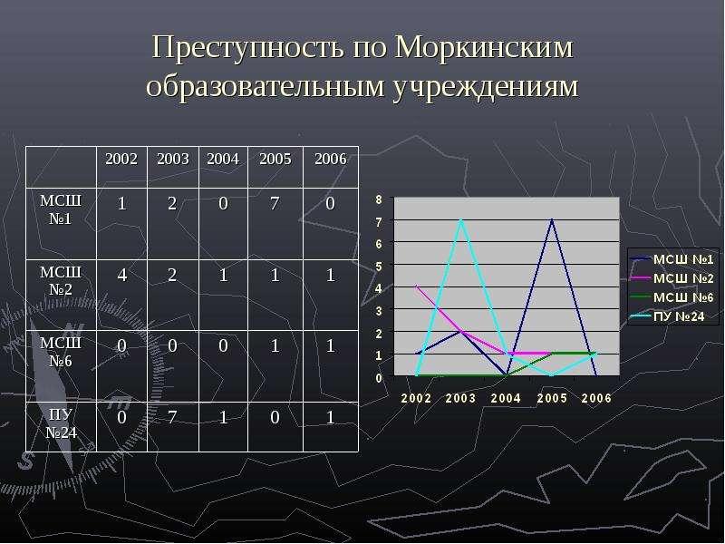 Преступность по Моркинским образовательным учреждениям
