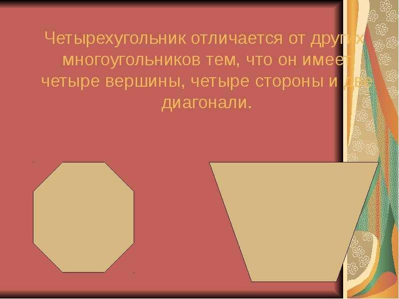 Четырехугольник отличается от других многоугольников тем, что он имеет четыре вершины, четыре сторон