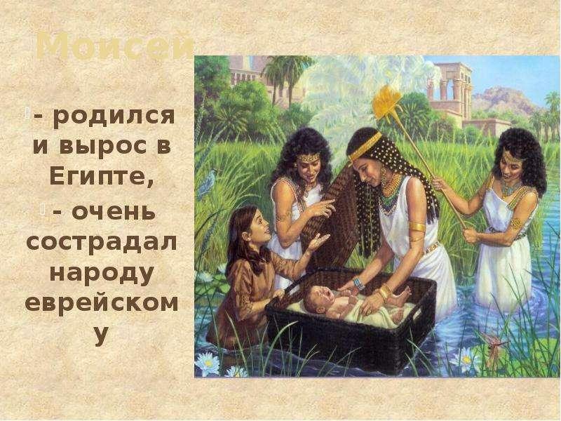 Моисей - родился и вырос в Египте, - очень сострадал народу еврейскому
