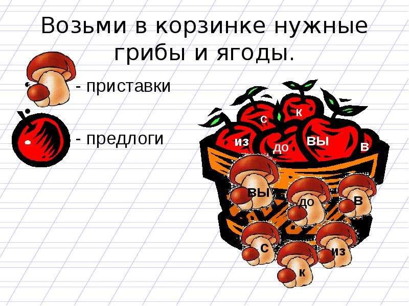 Возьми в корзинке нужные грибы и ягоды. - приставки - предлоги