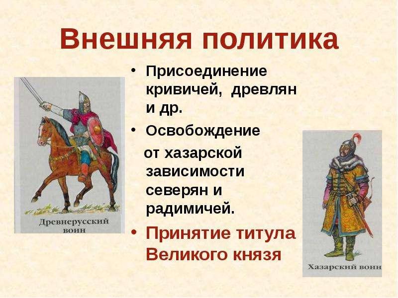 Внешняя политика Присоединение кривичей, древлян и др. Освобождение от хазарской зависимости северян