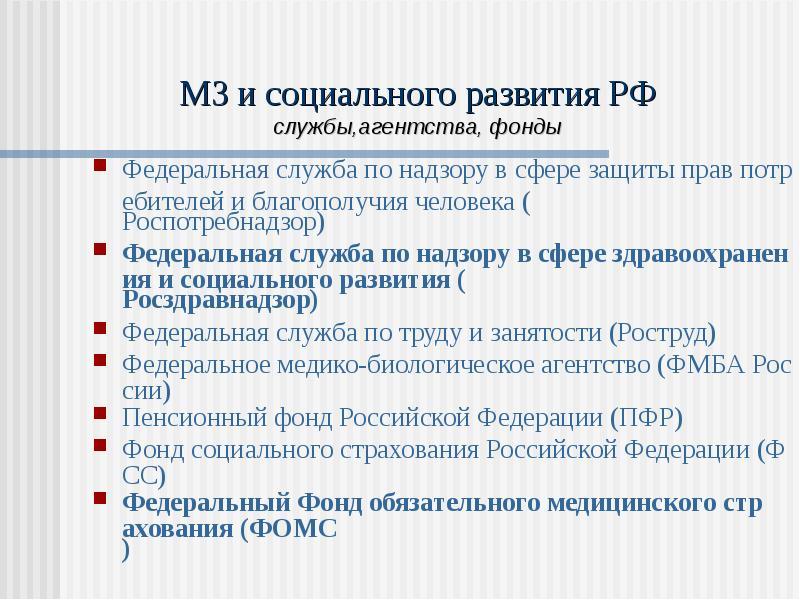 МЗ и социального развития РФ службы,агентства, фонды Федеральная служба по надзору в сфере защиты пр