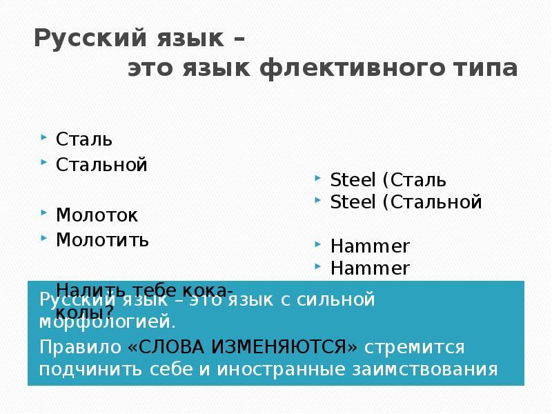 Русский язык – это язык флективного типа Русский язык – это язык с сильной морфологией. Правило «СЛО