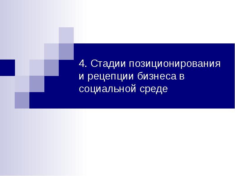 Презентация Стадии позиционирования и рецепции бизнеса в социальной среде