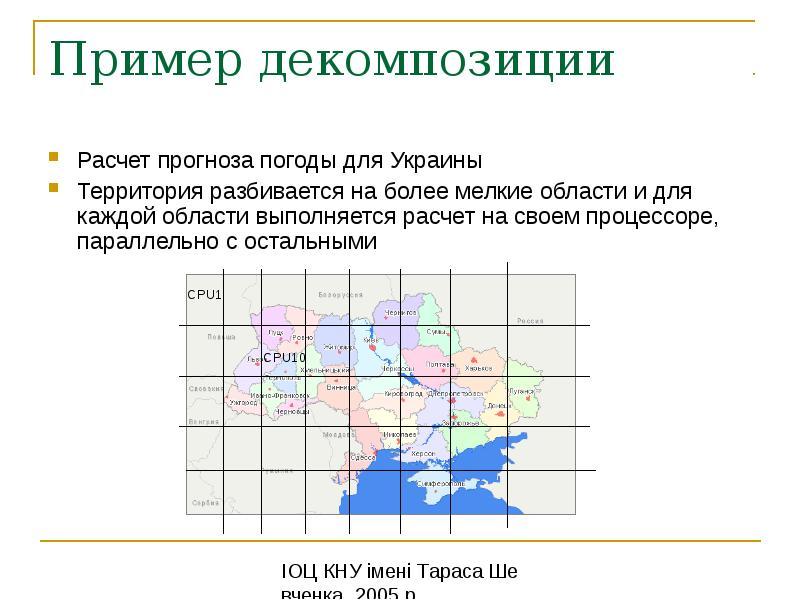 Пример декомпозиции Расчет прогноза погоды для Украины Территория разбивается на более мелкие област