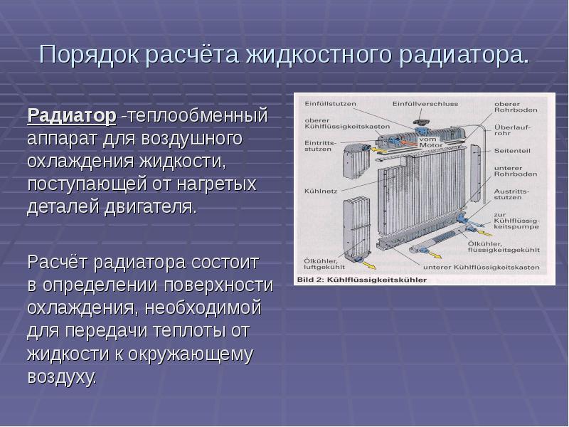 Порядок расчёта жидкостного радиатора. Радиатор -теплообменный аппарат для воздушного охлаждения жид