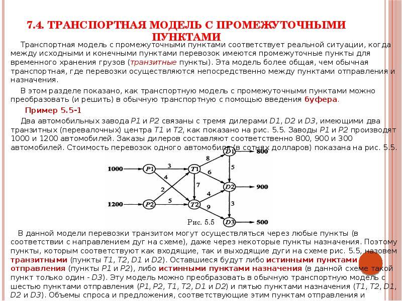 7. 4. Транспортная модель с промежуточными пунктами Транспортная модель с промежуточными пунктами со