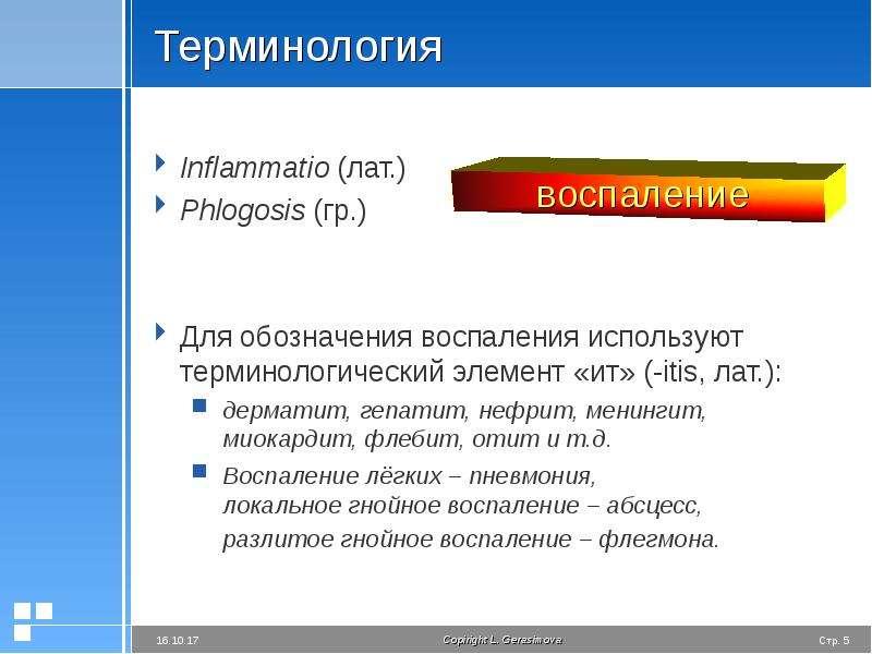 Терминология Inflammatio (лат. ) Phlogosis (гр. ) Для обозначения воспаления используют терминологич