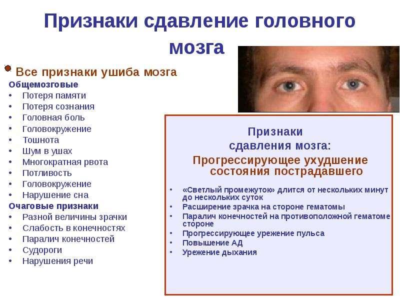 Признаки сдавление головного мозга Все признаки ушиба мозга Общемозговые Потеря памяти Потеря сознан