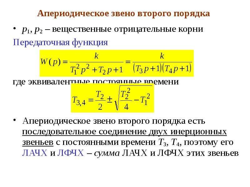 Апериодическое звено второго порядка p1, p2 – вещественные отрицательные корни Передаточная функция