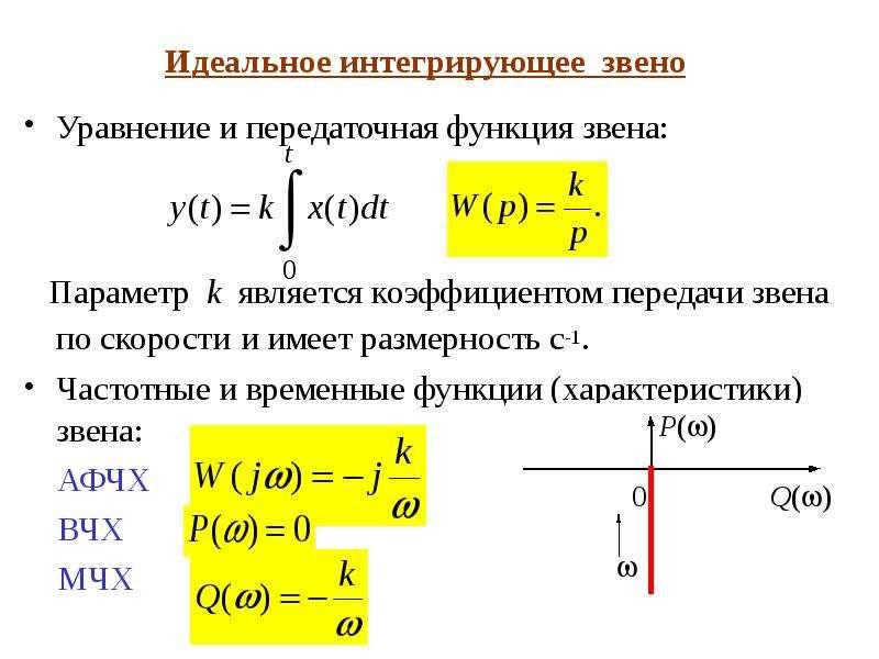 Идеальное интегрирующее звено Уравнение и передаточная функция звена: Параметр k является коэффициен