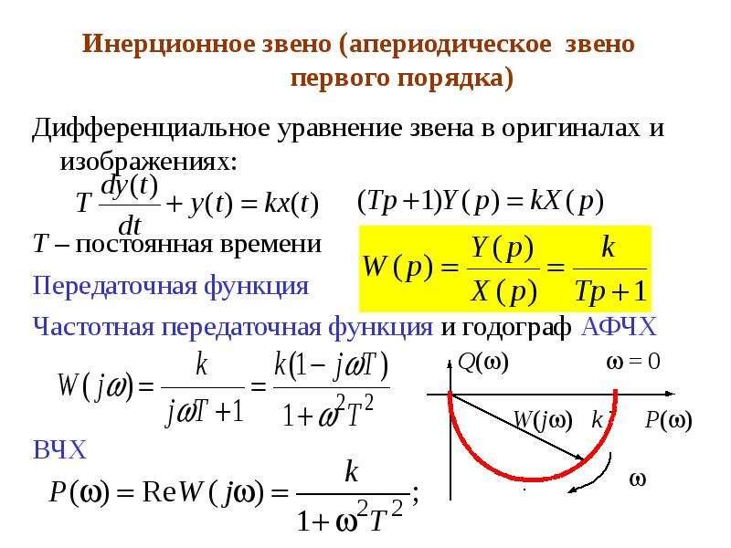Инерционное звено (апериодическое звено первого порядка) Дифференциальное уравнение звена в оригинал
