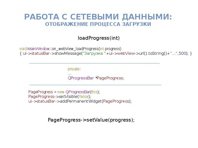 Работа с Сетевыми данными: отображение процесса загрузки
