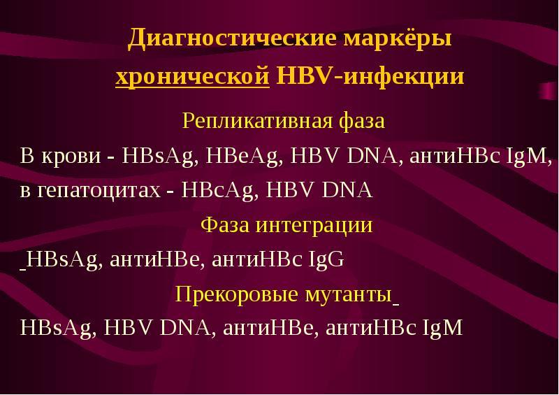 Диагностические маркёры хронической HBV-инфекции Репликативная фаза В крови - HBsAg, HBeAg, HBV DNA,
