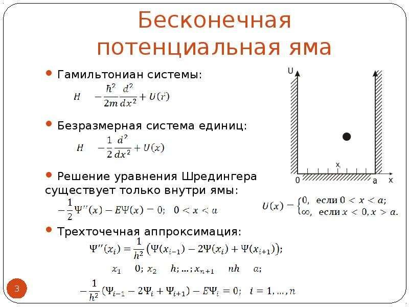 Бесконечная потенциальная яма Гамильтониан системы: Безразмерная система единиц: Решение уравнения Ш
