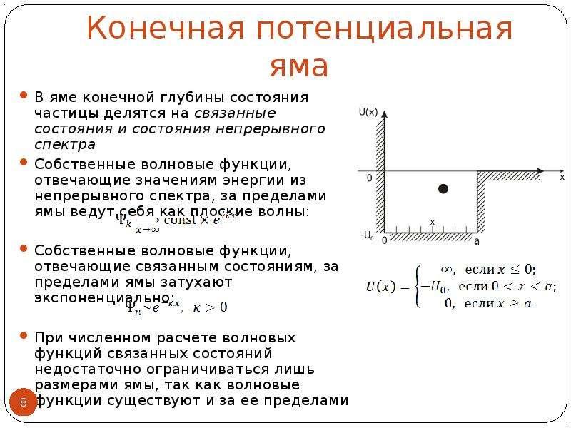 Конечная потенциальная яма В яме конечной глубины состояния частицы делятся на связанные состояния и