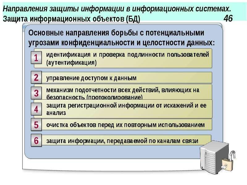 Направления защиты информации в информационных системах. Защита информационных объектов (БД) 46