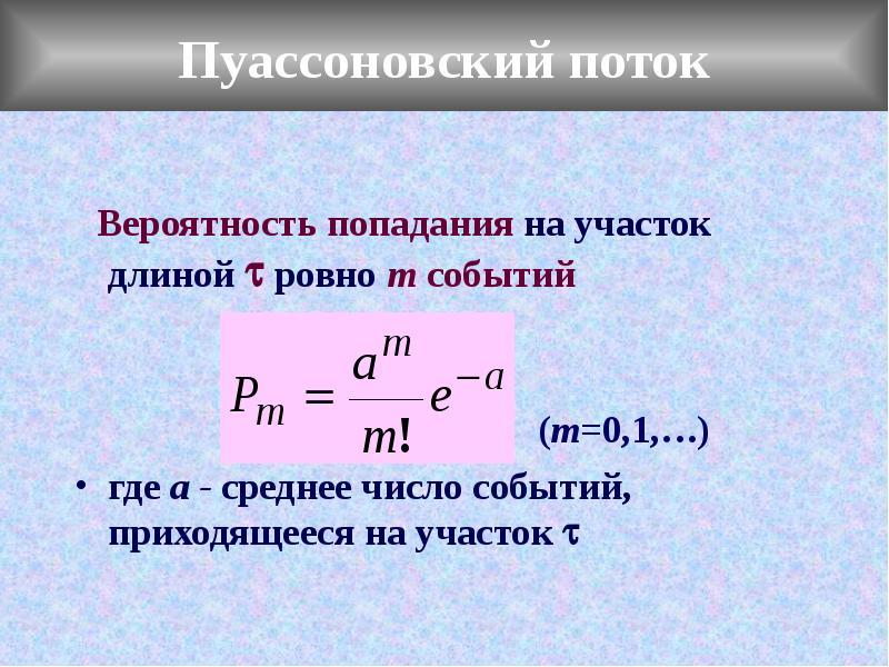 Пуассоновский поток Вероятность попадания на участок длиной  ровно m событий (m=0,1,…) где а - сред