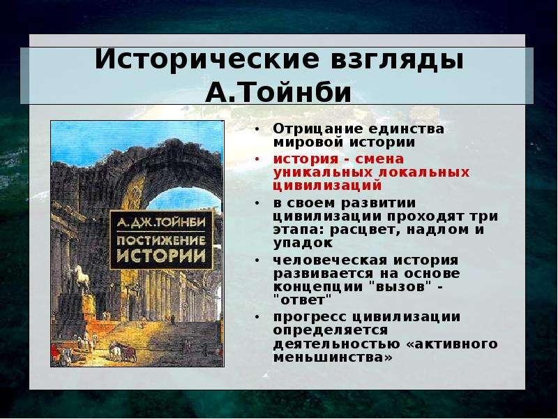 Исторические взгляды А. Тойнби Отрицание единства мировой истории история - смена уникальных локальн