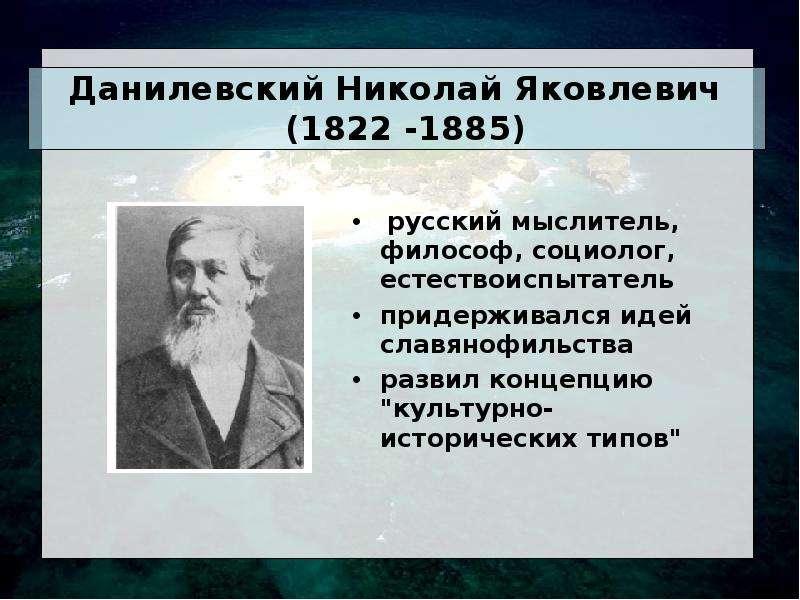 Данилевский Николай Яковлевич (1822 -1885) русский мыслитель, философ, социолог, естествоиспытатель