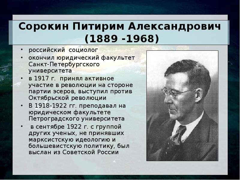 Сорокин Питирим Александрович (1889 -1968) российский социолог окончил юридический факультет Санкт-П