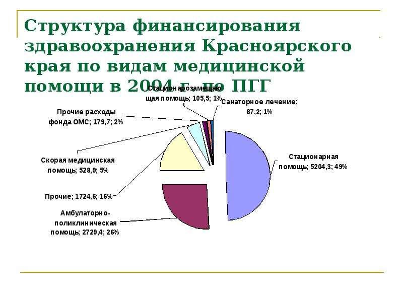 Структура финансирования здравоохранения Красноярского края по видам медицинской помощи в 2004 г. по