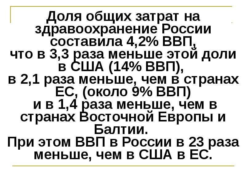 Доля общих затрат на здравоохранение России составила 4,2% ВВП, что в 3,3 раза меньше этой доли в СШ