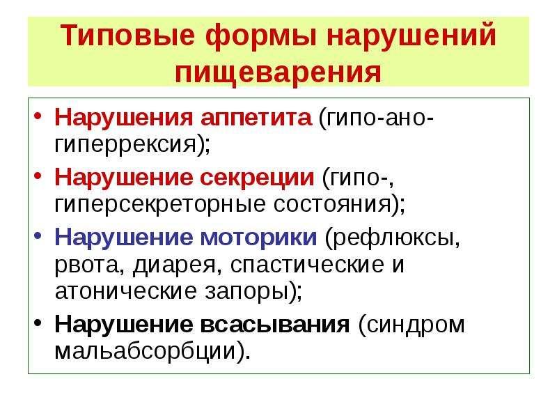 Типовые формы нарушений пищеварения Нарушения аппетита (гипо-ано-гиперрексия); Нарушение секреции (г
