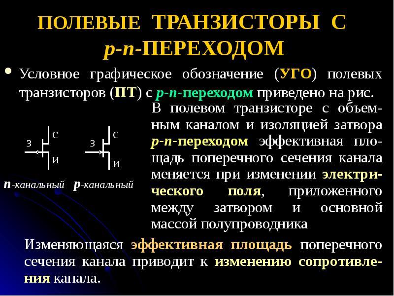 ПОЛЕВЫЕ ТРАНЗИСТОРЫ С p-n-ПЕРЕХОДОМ Условное графическое обозначение (УГО) полевых транзисторов (ПТ)