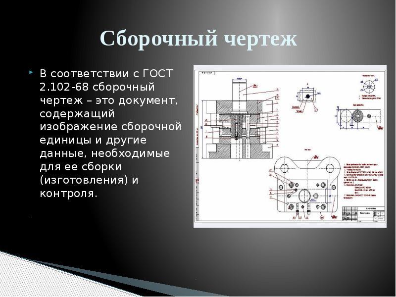 Сбоpочный чеpтеж В соответствии с ГОСТ 2. 102-68 сборочный чертеж – это документ, cодеpжащий изобpаж