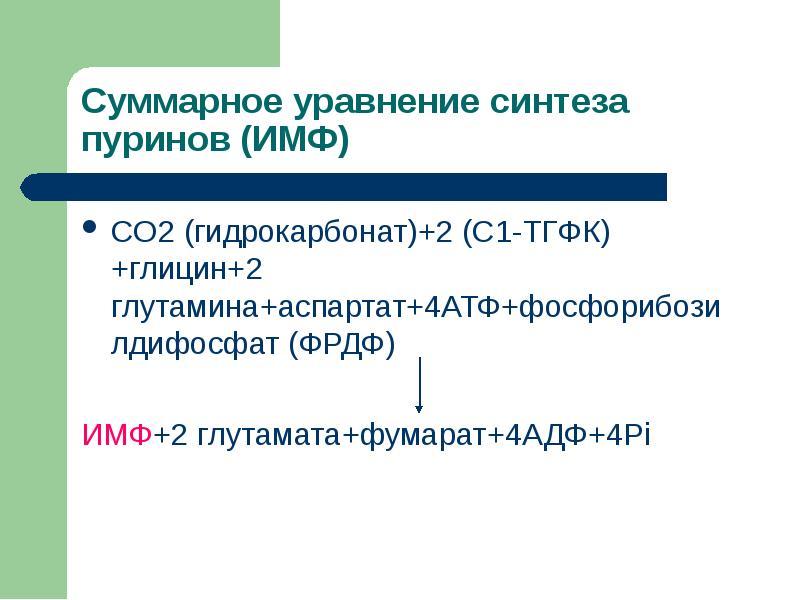 CO2 (гидрокарбонат)+2 (С1-ТГФК)+глицин+2 глутамина+аспартат+4АТФ+фосфорибозилдифосфат (ФРДФ) CO2 (ги