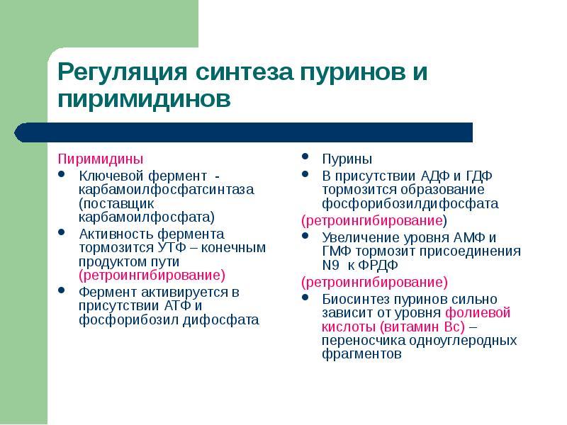 Пиримидины Пиримидины Ключевой фермент - карбамоилфосфатсинтаза (поставщик карбамоилфосфата) Активно