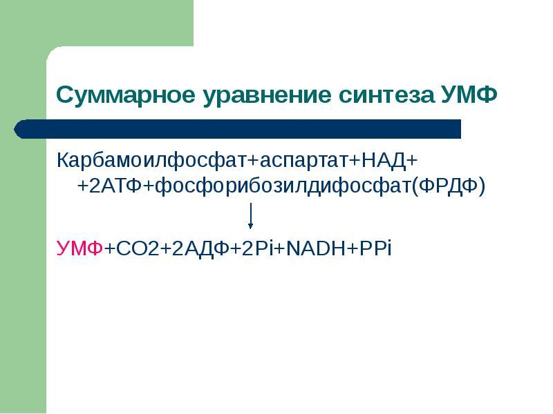 Карбамоилфосфат+аспартат+НАД+ +2АТФ+фосфорибозилдифосфат(ФРДФ) Карбамоилфосфат+аспартат+НАД+ +2АТФ+ф