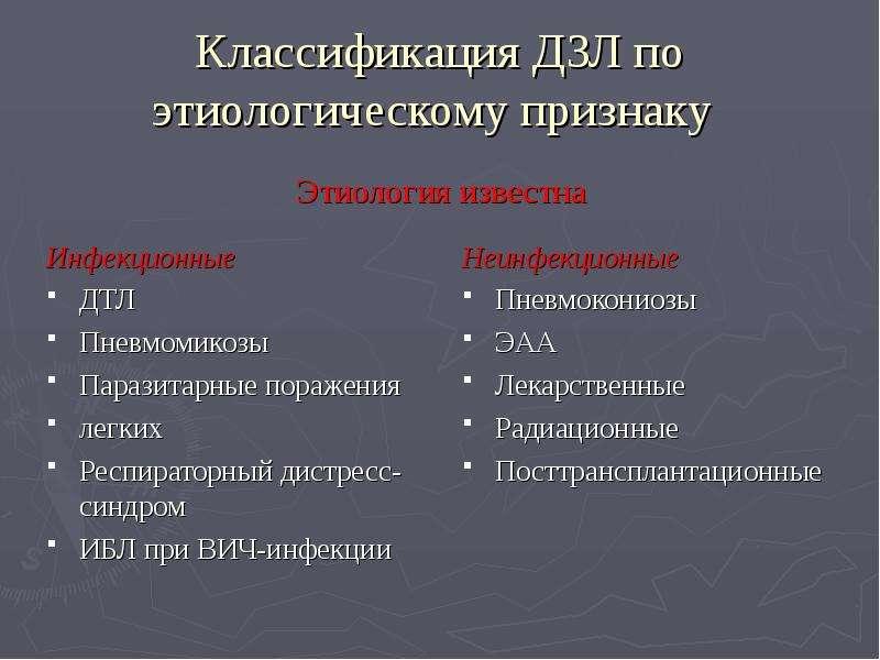 Классификация ДЗЛ по этиологическому признаку Инфекционные ДТЛ Пневмомикозы Паразитарные поражения л