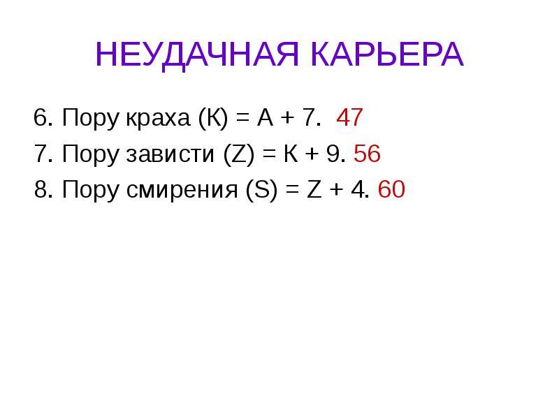 НЕУДАЧНАЯ КАРЬЕРА 6. Пору краха (К) = А + 7. 47 7. Пору зависти (Z) = К + 9. 56 8. Пору смирения (S)