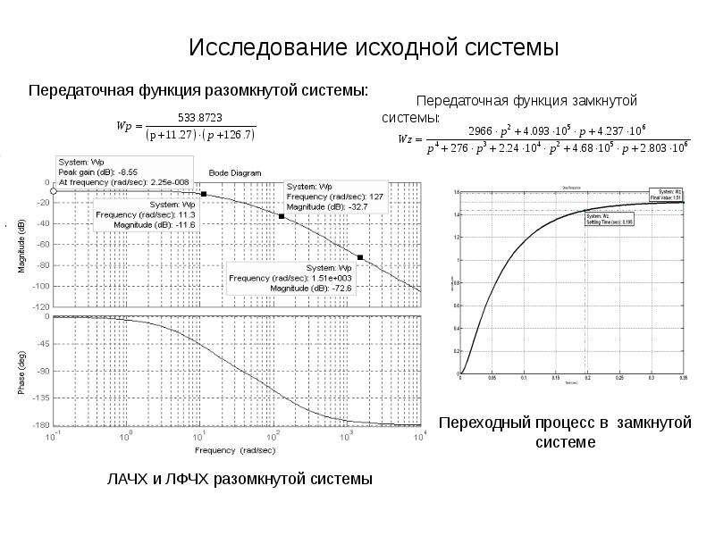 Исследование исходной системы