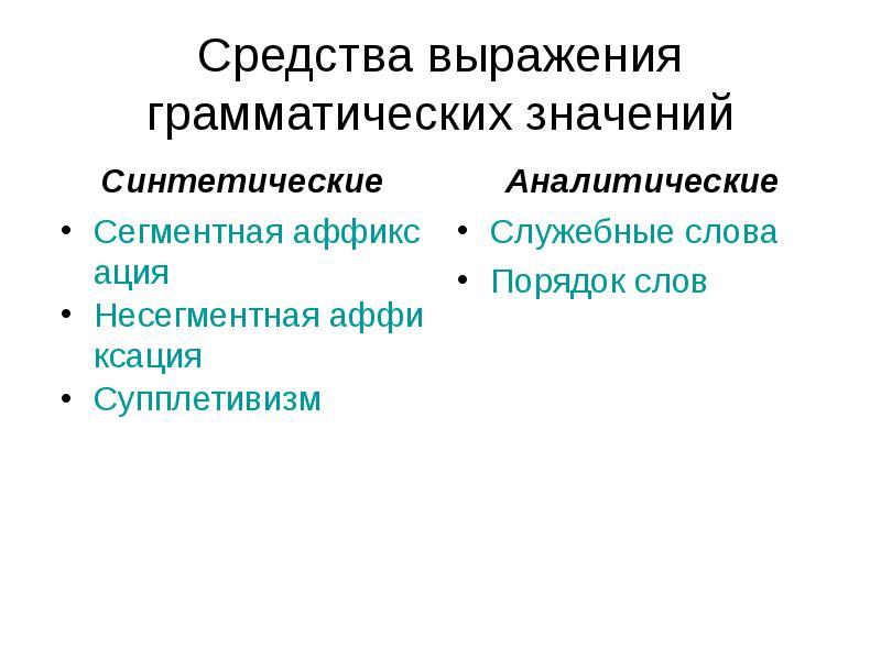 Средства выражения грамматических значений Синтетические Сегментная аффиксация Несегментная аффиксац