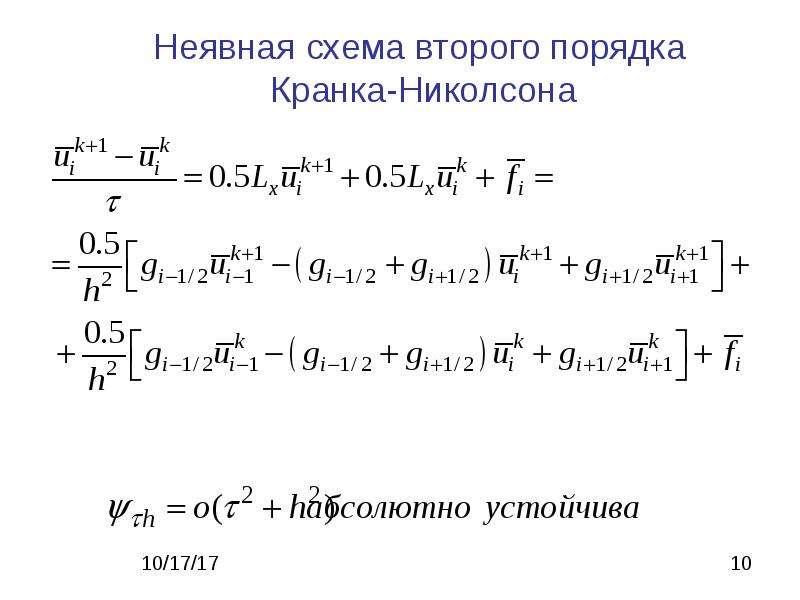 Неявная схема второго порядка Кранка-Николсона