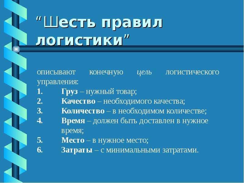 """""""Шесть правил логистики"""""""