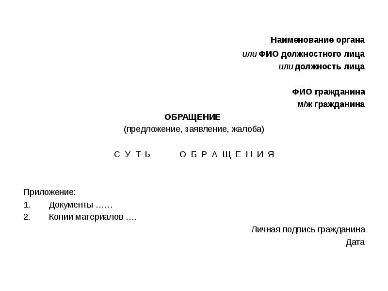 Наименование органа Наименование органа или ФИО должностного лица или должность лица ФИО гражданина