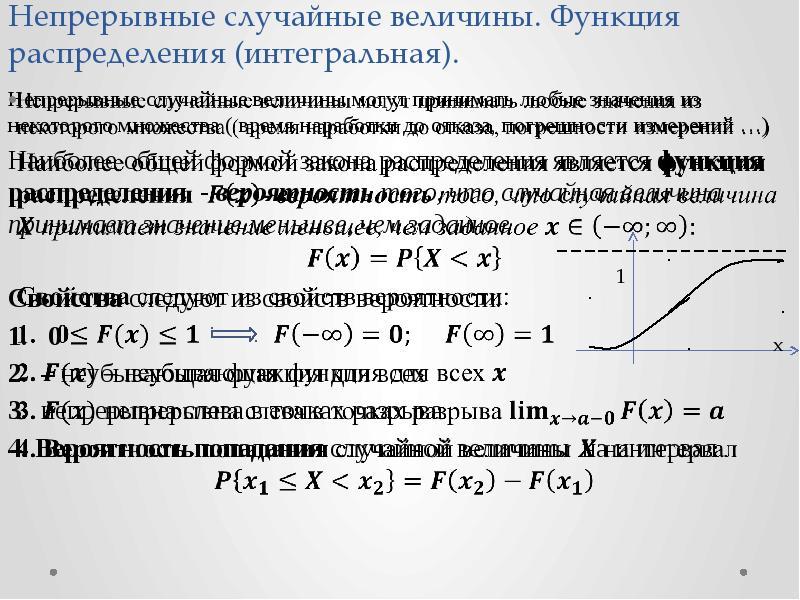 Непрерывные случайные величины. Функция распределения (интегральная). Непрерывные случайные величины