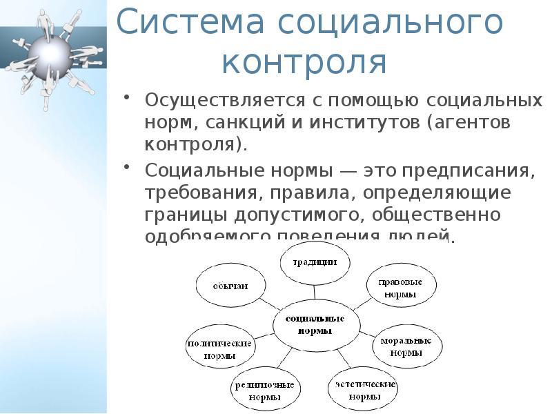 Система социального контроля Осуществляется с помощью социальных норм, санкций и институтов (агентов