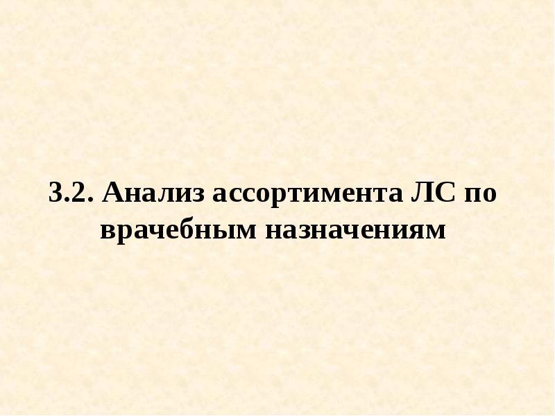 3. 2. Анализ ассортимента ЛС по врачебным назначениям