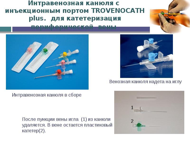 Интравенозная канюля с инъекционным портом TROVENOCATH plus. для катетеризация периферической вены